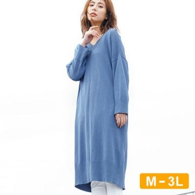 Ranan 【M~3L】サスティナブル!アウトシームニットワンピ ブルー M レディース
