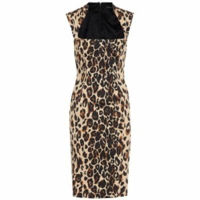 ミュグレー Mugler レディース ワンピース ミドル丈 ワンピース・ドレス Leopard-print cotton midi dress Natural Leopard