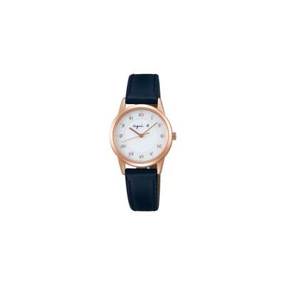アニエス b レディース ソーラー腕時計マルチェロシリーズ  FBSD940 ピンクゴールド色のケースと紺色のカーフレザーバンド