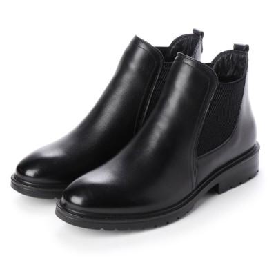 アミティエ Amitie 【軽量】<本革>サイドゴアカジュアルショートブーツ (ブラック)