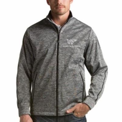 Antigua アンティグア スポーツ用品  Antigua Virginia Tech Hokies Heather Black Academic Logo Golf Full Zip Jacket