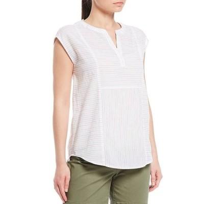 ウエストバウンド レディース シャツ トップス Rainbow Stripe Cap Sleeve Y-Neck Bib Shirt