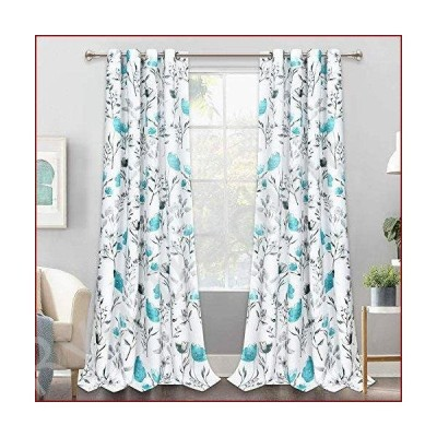 新品Yastouay カーテン フラワー 水彩 ウィンドウカーテン ブルードレープ 部屋を暗くする窓カーテン 花