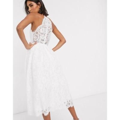 エイソス レディース ワンピース トップス ASOS EDITION lace halter neck midi wedding dress
