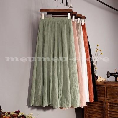 ロングスカート フレア 夏 レディース 女性 フリーサイズ ウエストゴム ボトムス かわいい おしゃれ カラバリ スカート プリーツ 涼しい マキシ丈