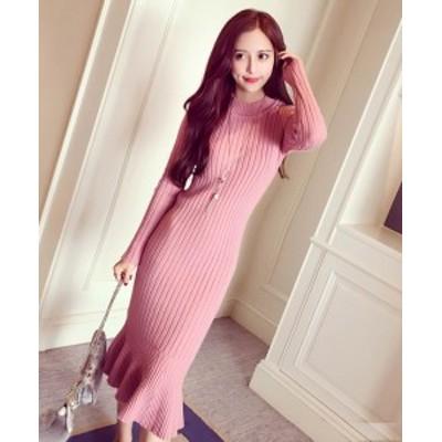 ワンピース ロング ペプラム ピンク 長袖 きれいめ 大人 秋物 冬物 最新 レディース ファッション 2020 人気 可愛い 大人