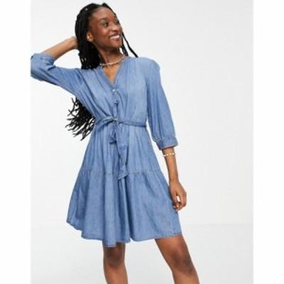 ジェイディーワイ JDY レディース ワンピース デニム シャツワンピース ワンピース・ドレス denim shirt dress with tie waist in blue