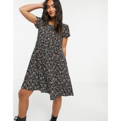 ブレイブソール ミディドレス レディース Brave Soul moon floral print smock dress  エイソス ASOS sale ブラック 黒