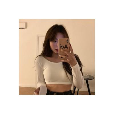 【送料無料】シンプル 単一色 丸襟 長袖Tシャツ 女 冬 韓国風 着やせ 着やせ ボ | 346770_A64199-6145639