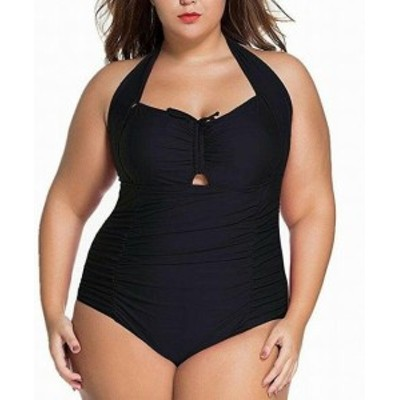 スポーツ用品 スイミング Chase Secret NEW Black Womens Size 3X Plus One-Piece Halater Swimwear