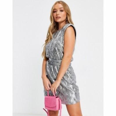 エイソス ASOS DESIGN レディース ワンピース ミニ丈 ワンピース・ドレス mini belted padded shoulder dress in silver シルバー