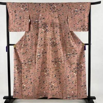小紋 美品 秀品 枝花 幾何学 縮緬 ピンク 袷 身丈156.5cm 裄丈67cm M 正絹 中古