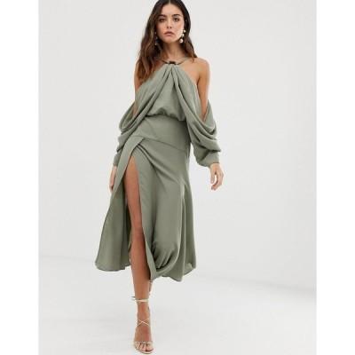 エイソス ミディドレス レディース ASOS EDITION drape sleeve midi dress with ring detail エイソス ASOS カーキ