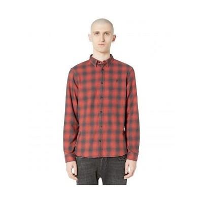 AllSaints メンズ 男性用 ファッション ボタンシャツ Catalpa Long Sleeve Shirt - Oxide Red