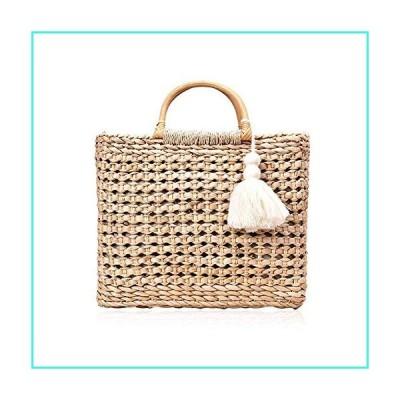 【新品】QTKJ Fashion Women Summer Straw Crossbody Bag with Cute Tassels Pendant, Hand-Woven Beach Shoulder Bag with Top Wooden Handle Tote Bag (Kh