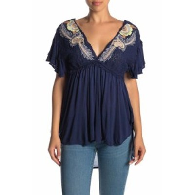 Free People フリーピープル ファッション トップス Free People NEW Navy Blue Womens Size Small S Embroidered Tunic Top