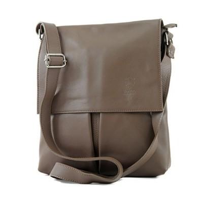 modamoda de ital. Shoulder Messenger bag ladies bag leather large T75, Colour:Dark taupe 並行輸入品