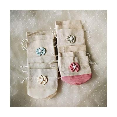 Ajaol 12個4色 麻 布 巾着袋 ギフトラッピング 収納袋 甘いデザイン 結婚式パーティーギフーギフバッグ 和風 (赤 アプリコット 青い 緑)