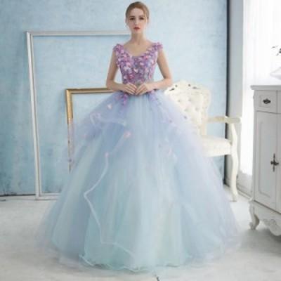 ふわふわ カラードレス ウェディングドレス パーティドレス Aライン ノースリーブ 結婚式 二次会 演奏会 パニエ付 オーダーサイズ可H012