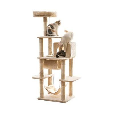 【トンネル付き】Mwpo キャットタワー 猫タワー 麻紐 ハンモック ストレス解消 156cm 匂いなし 025A