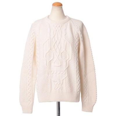 アレキサンダーマックイーン(Alexander McQueen) ざっくりとしたセーター スカル編み ホワイト 【正規取扱店】