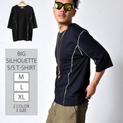 ビッグシルエット S/S Tシャツ メンズ トップス シャツ 半袖 ブラック ライン#TA154 M便