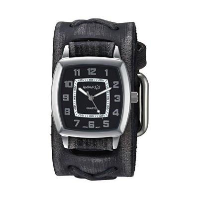 ネメシスメンズFXB017KクラシックヴィンテージチャコールXレザーカフバンドクォーツ腕時計
