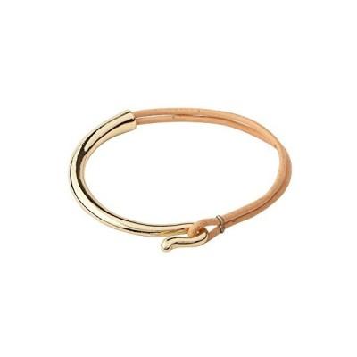 Monobijoux Half Beige Leather with Gold Plated Over Brass Hook Bracelet並行輸入