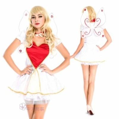 ハロウィン ワンピース 女神 天使 コスチューム 大人用 ハート コスプレ 仮装 パーティー用  レディース ドレス 欧米風 翼付き 精霊 優雅