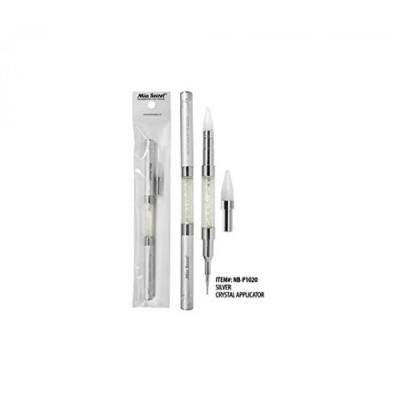 美容・コスメ ネイル アクリルネイルツール Mia Secret Luxury Crystal Applicator W Replacement Tip & Dotting Tool (Silver) 正規輸入品