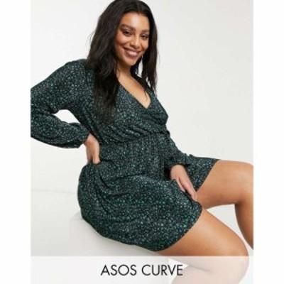 エイソス ASOS Curve レディース ワンピース Vネック ミニ丈 Asos Design Curve Plisse V Neck Mini Swing Dress In Black And Forest Gr