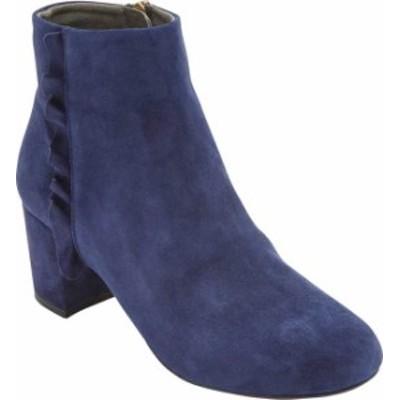 ロックポート レディース ブーツ・レインブーツ シューズ Women's Rockport Total Motion Oaklee Ruffle Ankle Bootie Blue Suede