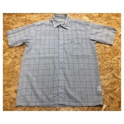 LYLE&SCOTT ライルアンドスコット サイズ不明 メンズ シャツ ラインチェック柄 ロゴ刺繍 半袖 胸ポケット付き ウール100% 水色×黒