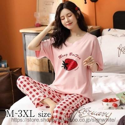 レディースパジャマ春夏ルームウェア半袖綿セットアップ女性いちご柄可愛い寝巻き韓国風上下セット部屋着20代ゆったり