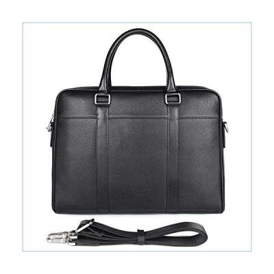 JUROUXIYUJIN Men's Genuine Leather Handbag 14 inch Computer Bag Business Men's Bag Single Main Bag Thin Section Briefcase (Color : Black)並行輸入