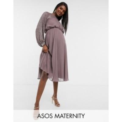 エイソス レディース ワンピース トップス ASOS DESIGN Maternity midi dress with linear yoke embellishment Mauve