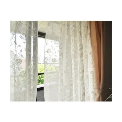 日本製 外から見えにくい フラワーデザイン ミラーレースカーテン 100cm幅×88cm丈(2枚組) 14-179b