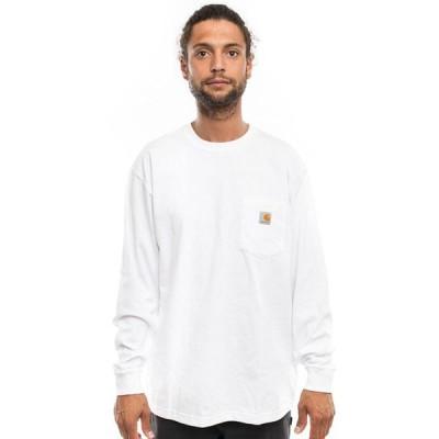 CARHARTT (カーハート) US ロンT ロングTシャツ 長袖 Men's Workwear Pocket L/S T-Shirt White ポケット付き