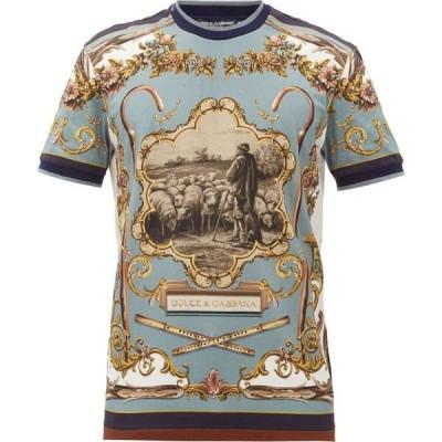 ドルチェ&ガッバーナ Dolce & Gabbana メンズ Tシャツ トップス Shepherd-print cotton-jersey T-shirt Blue