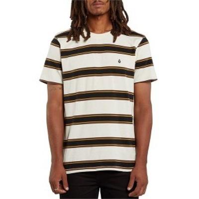 ボルコム メンズ Tシャツ トップス Volcom DA Fino Stripe Crew T-Shirt Primer White