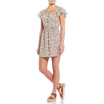 I.N.サンフランシスコ レディース ワンピース トップス Short Flutter Sleeve Ditsy Floral Print Button-Front Dress