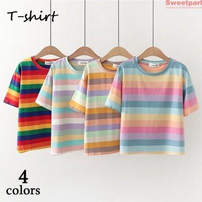 Tシャツ 半袖 レディース カットソー トップス ボーダー柄 半袖Tシャツ 夏Tシャツ おしゃれ 夏 2020 10代 20代