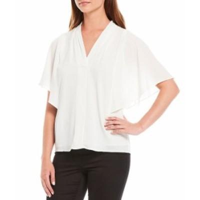 カルバンクライン レディース シャツ トップス Textured Georgette Pleated Shoulder V-Neck Flutter Drape Sleeve Top Soft White