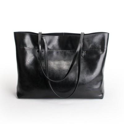 Sale横型 本革トートバッグ レディース 大容量 A4 仕切り 男女兼用 ハンドバッグ 肩掛け ビジネスバッグ 仕事 sa5288yokoku (ブラック/black)