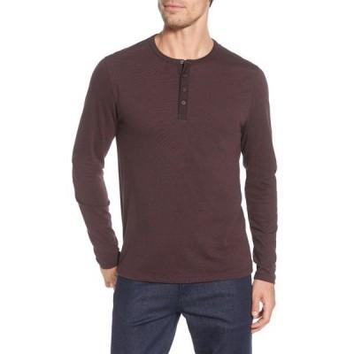 ロバートバラケット メンズ Tシャツ トップス Flatrock Long Sleeve Henley Sweater DEEP BORDE