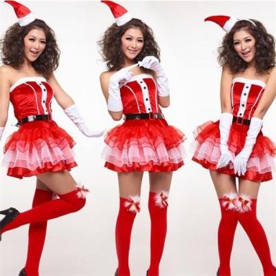 クリスマス サンタ 女性 レディース 仮装 コスチューム 大人衣装 コスプレ 可愛い 5点セット