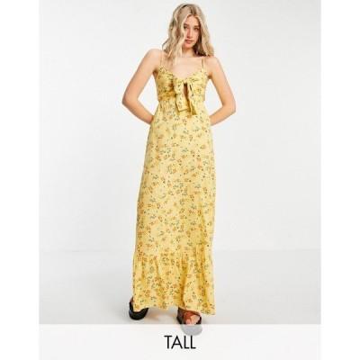 インフルエンス レディース ワンピース トップス Influence Tall maxi dress in yellow floral print Yellow