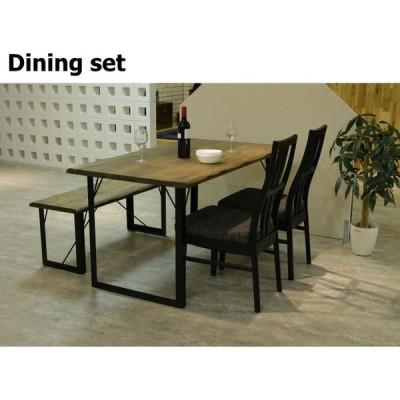 送料無料 ダイニング4点セット ダイニング テーブル 椅子2脚 135テーブル ベンチ アイアン 北欧 食卓