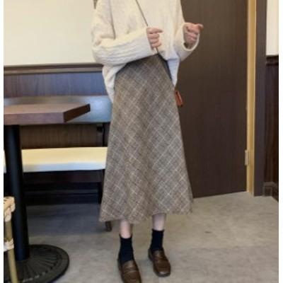韓国 ファッション レディース スカート チェック ロング ミモレ丈 ハイウエスト フレア Aライン 大きいサイズ 大人可愛い 秋冬