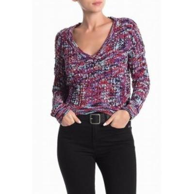 ファッション トップス Poof New York NEW Purple Womens Size Large L V-Neck Spacedye Sweater